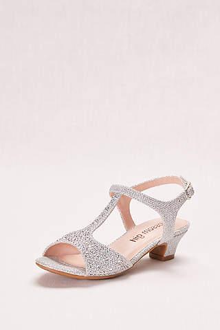 Flower girl shoes girls dress shoes davids bridal blossom grey flowergirl shoes glitter girls t strap low heel sandal mightylinksfo