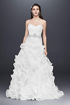 Ruffled Skirt Wedding Gown With Embellished Waist