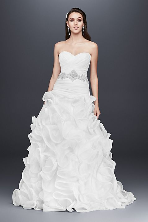 Ruffled Skirt Wedding Gown With Embellished Waist Davids Bridal