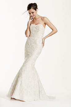 Strapless Mermaid Wedding Gown with Gold Lace