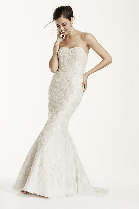 Petite Trumpet Sequin Gown with Gold Lace | David\'s Bridal