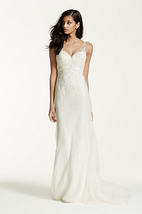 Lace Sheath Gown with V Neckline | David\'s Bridal