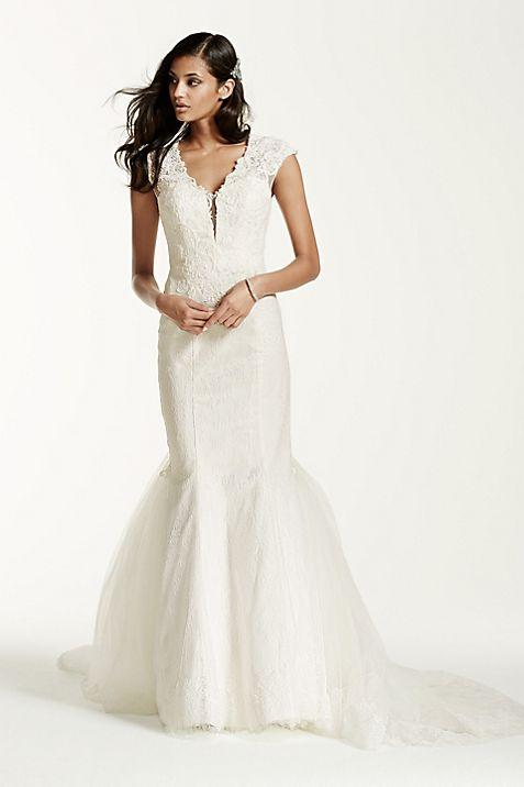 Illusion Deep Plunge Neckline Lace Trumpet Gown | David\'s Bridal