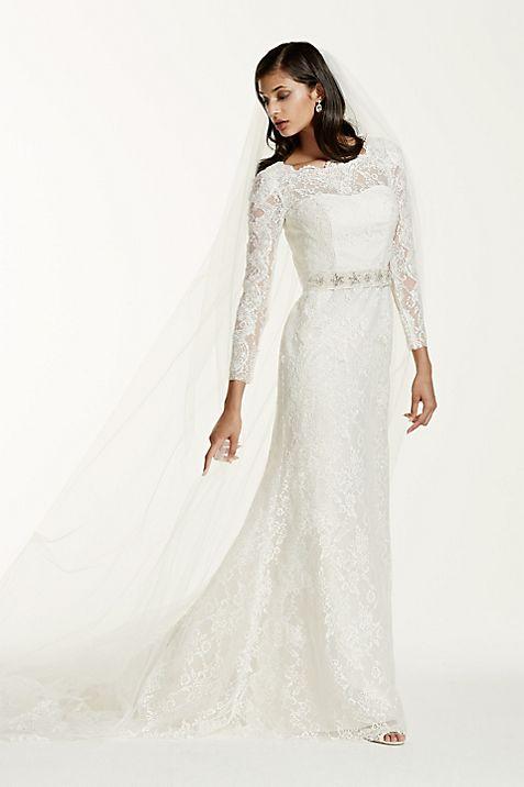 Long Sleeve Wedding Dress with Beaded Lace | David\'s Bridal