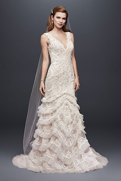 Beaded Lace Wedding Dress with Plunging Neckline | David\'s Bridal