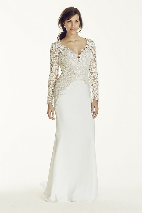 Long Sleeve Beaded Lace Plunge Neckline Gown | David\'s Bridal