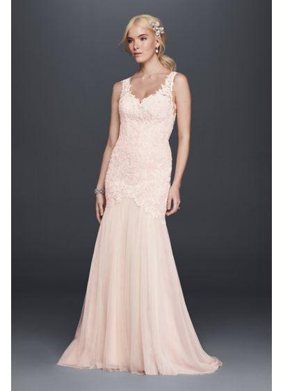 Petite Beaded Venice Scalloped Lace Wedding Dress | David\'s Bridal