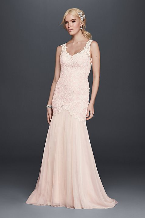 Beaded Venice Lace Trumpet Wedding Dress   David\'s Bridal