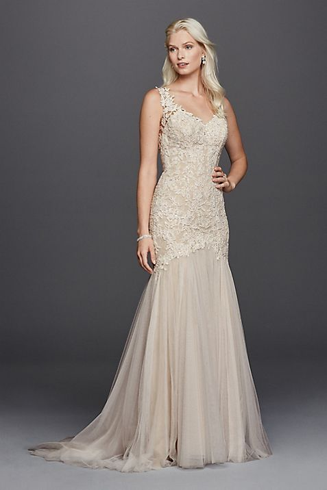 As-Is Beaded Venice Lace Trumpet Wedding Dress   David\'s Bridal