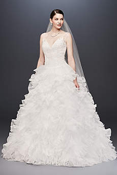 Plunging V-Neck Wedding Gown with Tiered Skirt