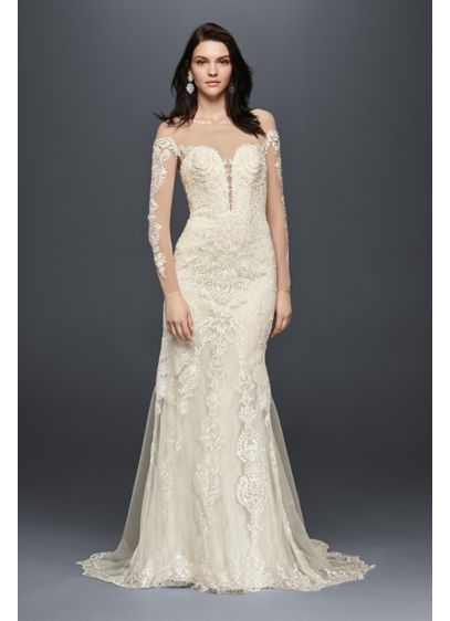 Long sleeve wedding dress with tiered train davids bridal long sheath wedding dress galina signature junglespirit Images