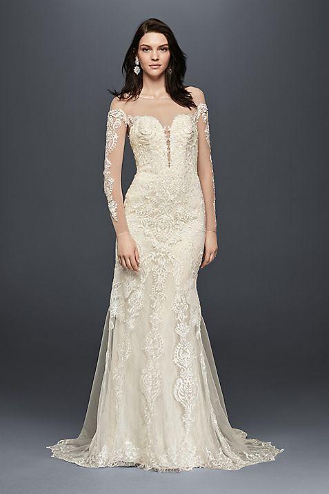 Long Sleeve Wedding Dress with Tiered Train | David\'s Bridal