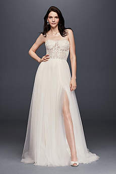 Long A-Line Beach Wedding Dress - Galina Signature