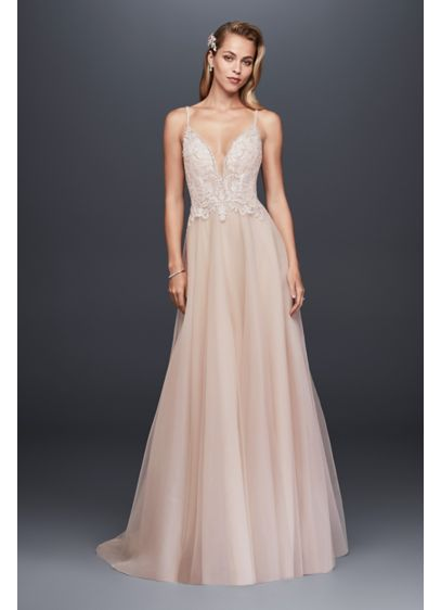 Sheer Beaded Bodice Organza A-Line Wedding Dress | David\'s Bridal