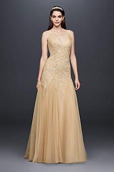 Beaded Plunging V-Neck Wedding Dress with Godets