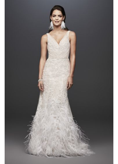 Lace Mermaid Wedding Dress with Feather Skirt | David\'s Bridal