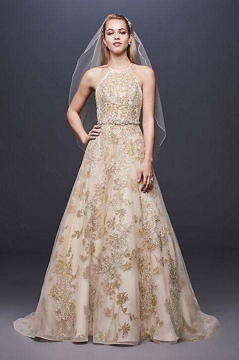 Allover Lace Applique Halter Ball Gown | David\'s Bridal