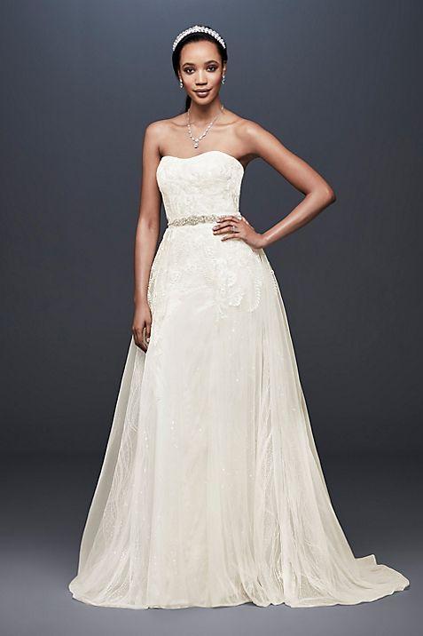 Sheath Wedding Dress with Detachable Overskirt | David\'s Bridal