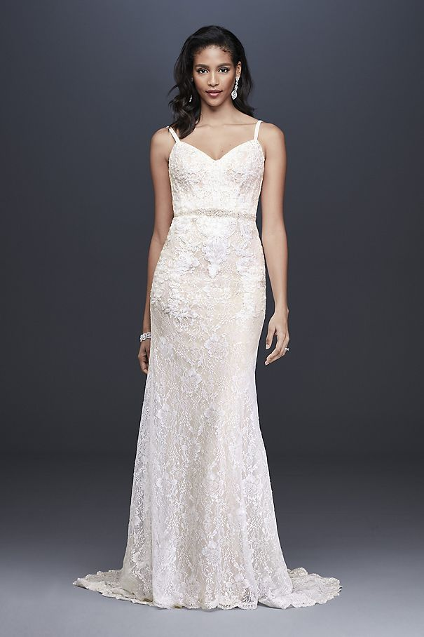 Sequin Lace Sheath Wedding Dress with Crystal Belt SWG819