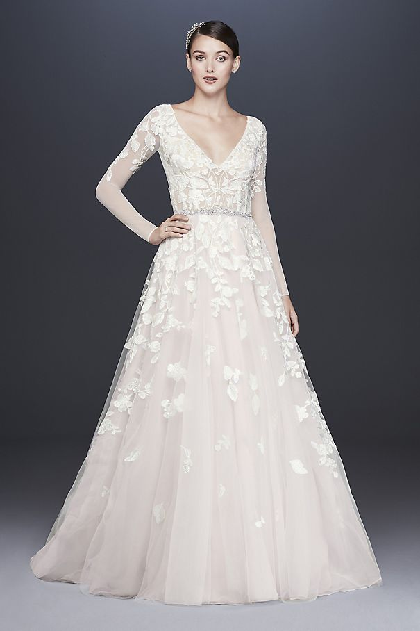 Illusion Sleeve Plunging Ball Gown Wedding Dress SWG820