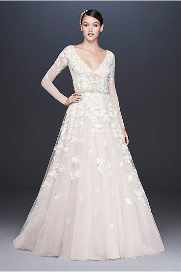 Illusion Sleeve Plunging Ball Gown Wedding Dress