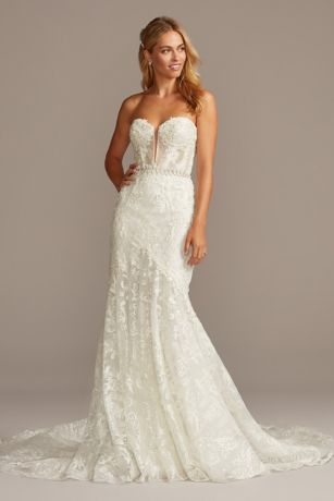 As Is Beaded Brocade Mermaid Wedding Dress