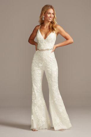Long Jumpsuit Wedding Dress - Galina Signature