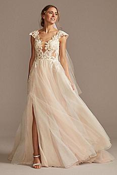 Illusion Cap Sleeve Lace Appliqued Wedding Dress SWG862