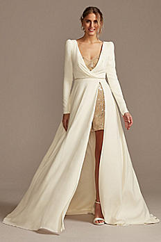 Two Piece Wedding Romper and Over Dress Set SWG869
