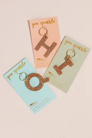 Glitter Acrylic Sparkling Initial Key Chain