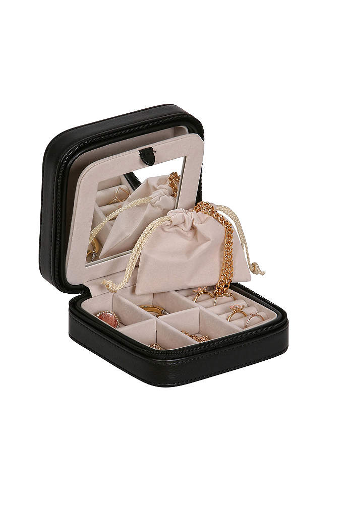 Luna Travel Jewelry Case in Metallic Faux Leather - Stylish, yet practical, the Luna jewelry box and