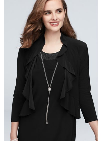Ruffle Edge Open Front Jersey Jacket - Simple and sophisticated, this ruffle-front jersey jacket provides