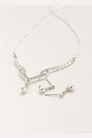 Set de Collar y Aretes con Perla en Forma de Gota