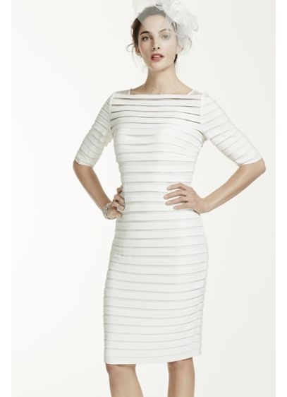 98a40fe48a4 3 4 Sleeve Illusion Band Horizontal Striped Dress