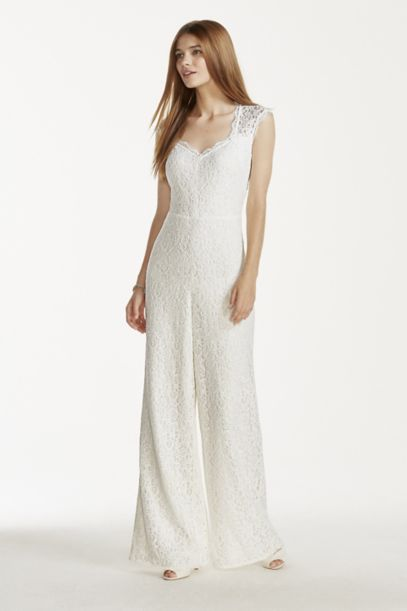 V Neck Lace Jumpsuit Davids Bridal