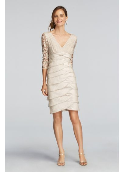 Short Sheath 3/4 Sleeves Cocktail and Party Dress - Adrianna Papell
