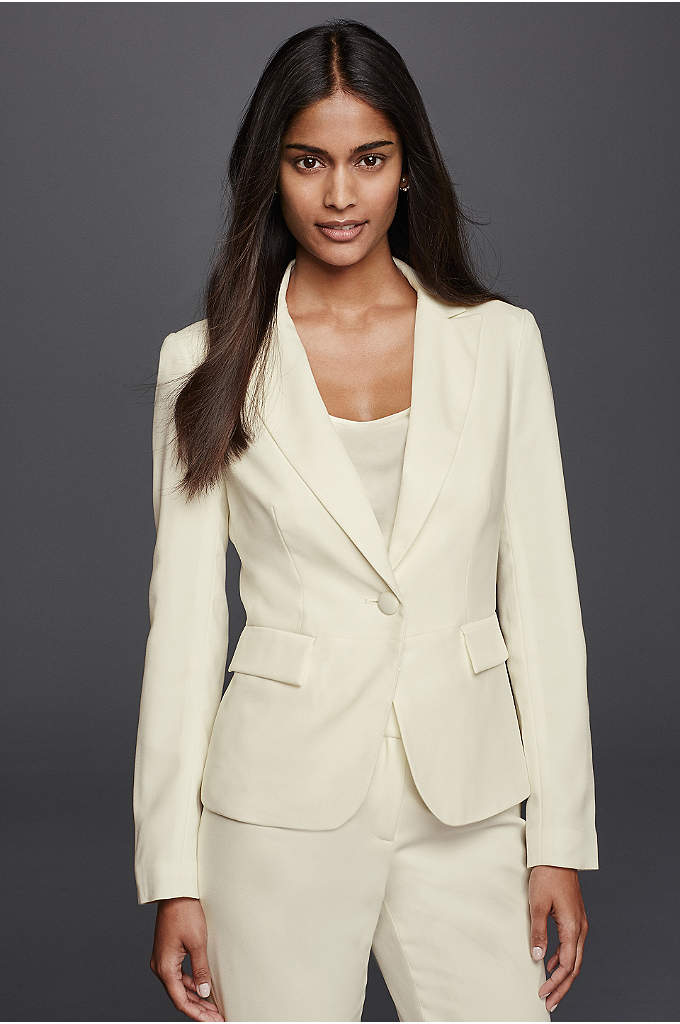 Long Sleeve Crepe Jacket - Strike a polished note in a tailored pantsuit.
