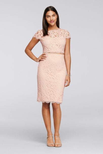 Two Piece Lace Dress With Short Sleeves David S Bridal