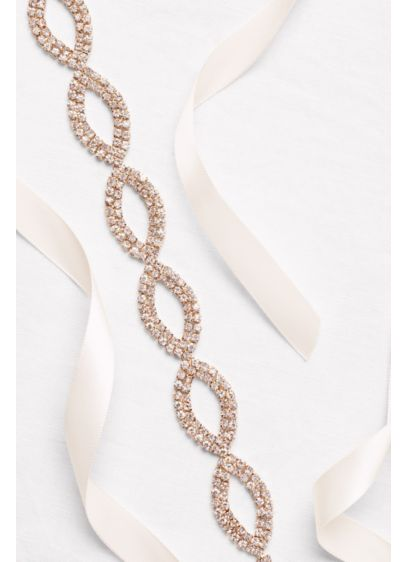 Double-Ribbon Sash with Almond-Shaped Crystals - Wedding Accessories