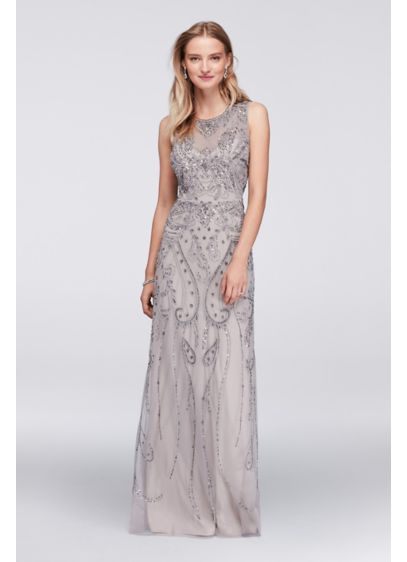 Adrianna Papell Grey (Long Mesh Tank Dress with Allover Beading)