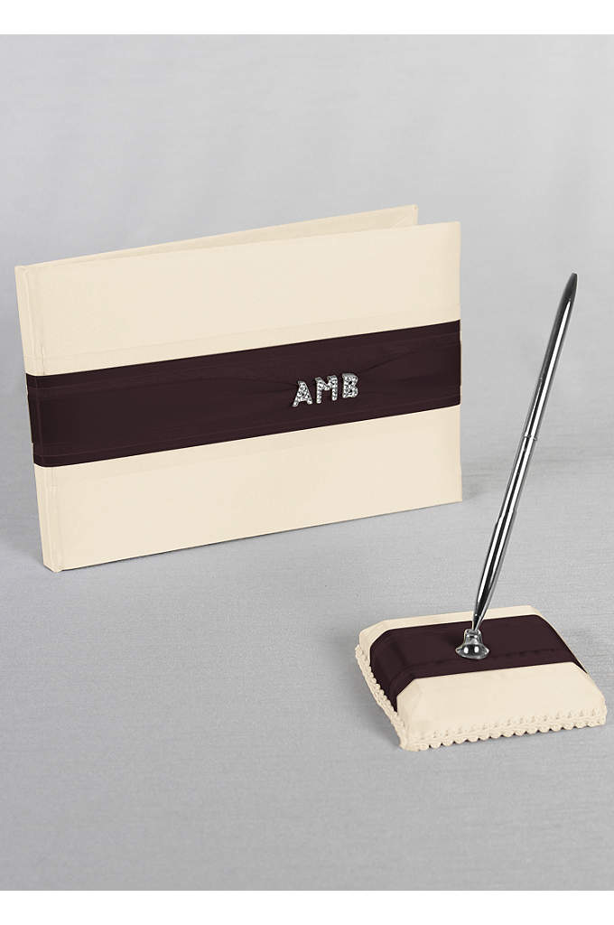 Exclusive Personalized Monogram Guest Book and Pen - Stylish white or ivory satin guest book is