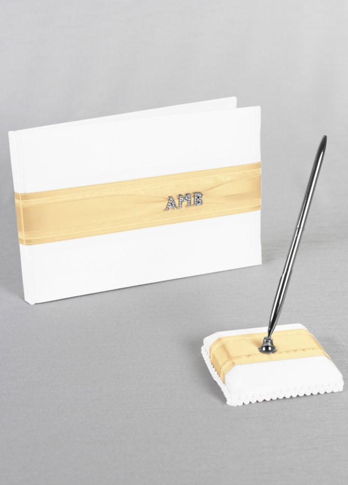 Exclusive Personalized Monogram Guest Book and Pen Style 10-3007
