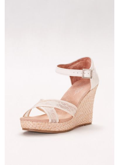 TOMS Ivory (TOMS Crisscross Lace Wedges)