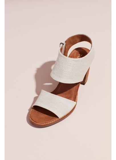 TOMS Beige (TOMS Canvas Sandals with Zipper and Block Heel)