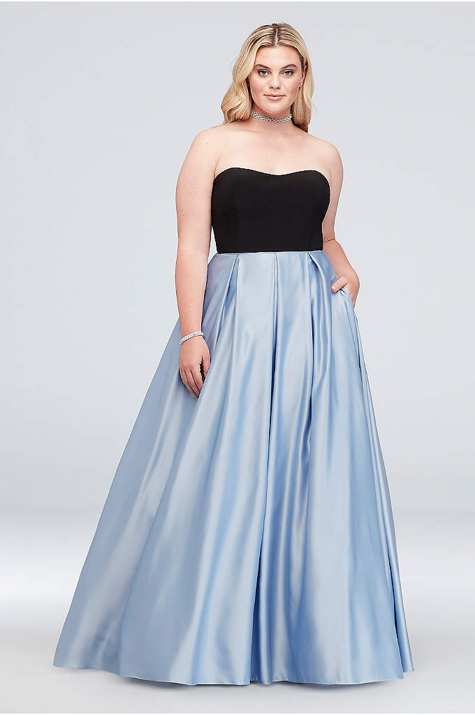 Satin and Jersey Plus Size Ball Gown with - A colorblocked plus size ball gown, featuring a