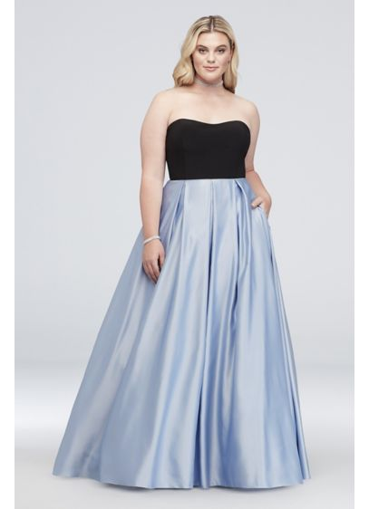 bcfc832449 Satin and Jersey Plus Size Ball Gown with Cutouts