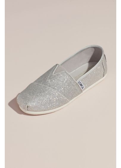 TOMS Grey (TOMS Girls Glitter Classic Slip-On Shoes)