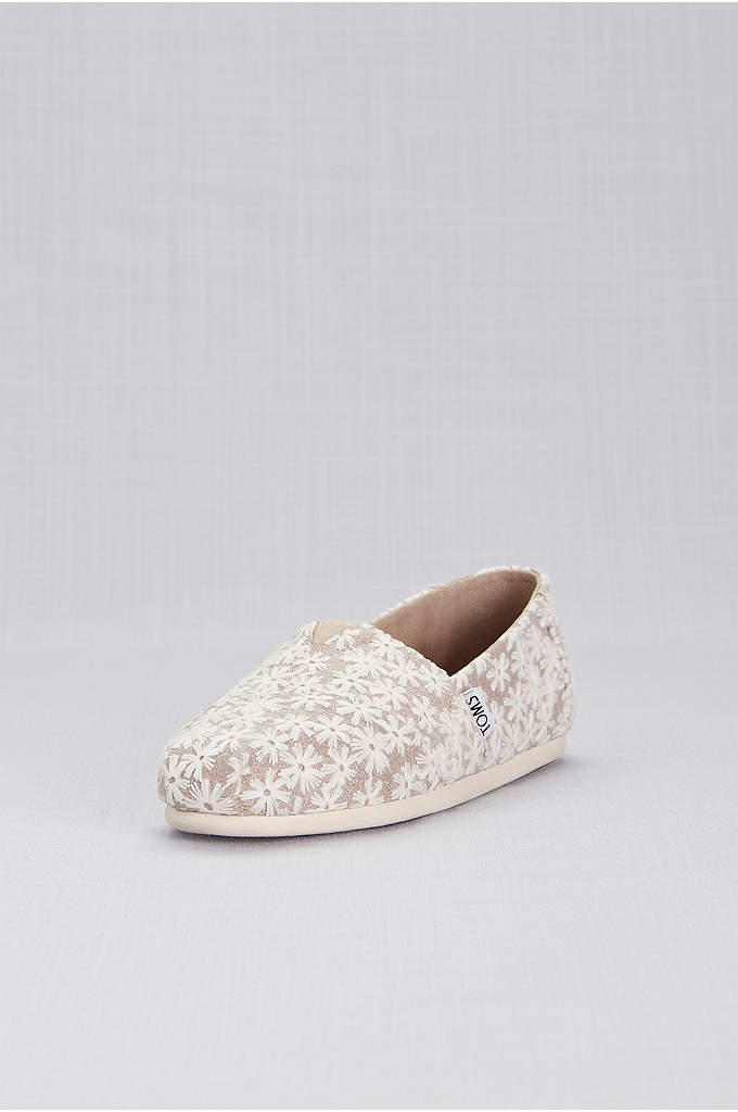 TOMS Rose Gold Daisy Classic Slip-On Shoes - Casual yet sweet, these daisy-embroidered metallic slip-ons are