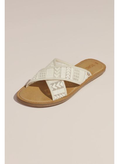 TOMS Ivory (TOMS Embroidered Arrow Crisscross Slip-On Sandals)