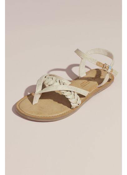 TOMS Beige (TOMS Braided Metallic Strappy Flat Sandals)
